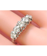 VINTAGE 1.05ctw DIAMOND PLATINUM CLASSIC 5-STONE ANNIVERSARY RING 1950 s... - $2,474.01
