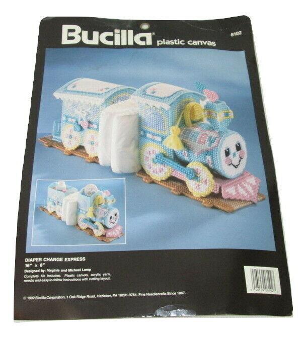 1992 Bucilla Diaper Change Express Train Plastic Canvas Kit #6102 Craft - $18.80