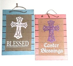 2 pc Blessed Easter Blessings Glitter Cross Hanging Sign Door Wall Windo... - $9.49