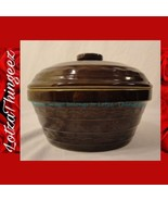 Marcrest Brown Glossy Daisy Dot Stoneware Oven Baker w/ Lid 1.5 Qt - $34.64