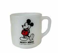Walt Disney Mug Cup Milk Glass Vtg Mickey Minnie Mouse Fire King collect... - $19.30