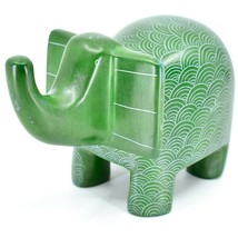Vaneal Group Hand Crafted Carved Soapstone Large Heavy Green Elephant Sculpture image 2