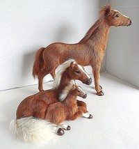 Two Horse Models, Stallion and Mare with Colt *Very Soft!!! *Real Fur! - $85.00