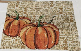 "Set of 2 Same Tapestry Placemats,13""x19"",PUMPKINS ON HARVEST WORDS BACKG... - $12.86"