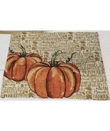 """Set of 2 Same Tapestry Placemats,13""""x19"""",PUMPKINS ON HARVEST WORDS BACKG... - $12.86"""