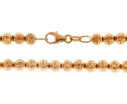 """18K ROSE GOLD BALLS CHAIN WORKED SPHERES 4mm DIAMOND CUT, FACETED 20"""", 50cm image 1"""