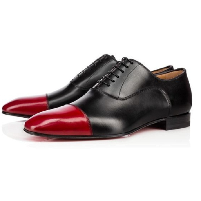Primary image for Men Oxford Two Tone Rounded Cap Toe Party Wear Premium Leather Lace Up Shoes