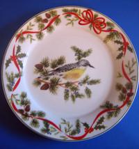 American Atelier Christmas Woodland Salad Dessert Plate D Meadowlark Bir... - $29.89