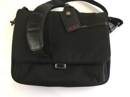 "TUMI 14"" Laptop Bag Carry On Black Crossbody Luggage 16x13 Expandable - $87.18"