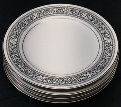 """4 Noritake Prelude Ivory China Bread Butter Plates 6 3/8"""" Black Scroll P... - £18.98 GBP"""
