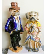 Vintage Pair of Dogs in Victorian Costumes Hand Painted Made to Look Old - $74.00