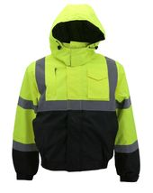 Men's Class 3 Safety High Visibility Water Resistant Reflective Neon Work Jacket image 11