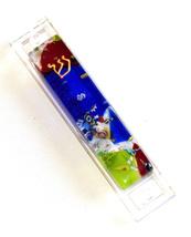 Murano Glass Handmade Mezuzah Case with 6.5 cm Scroll Dark Blue Murrina Italy image 5