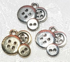 BUTTONS FINE PEWTER PENDANT CHARM image 1