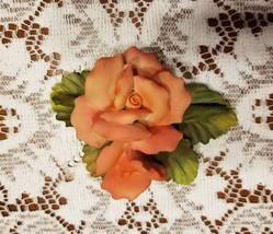 Peach Roses Capodimonte Crown N Made in Italy Floral Centerpiece Figurine - $35.20
