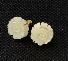 White Mother Of Pearl Carved Rose Flower Shape Earrings Pierced Post Vin... - $9.90