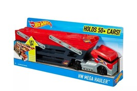 Hot Wheels Mega Hauler Truck Mega Hauler Truck Red Holds 50 Cars & Six L... - $16.71