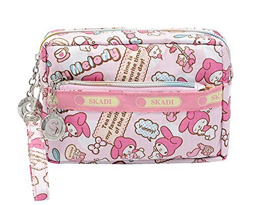 Cute Waterproof Oxford Cloth Three Layer Clutch Handbag Coin Purse, Red Rabbit