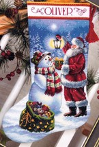 Dimension Holiday Glow Santa Snowman Christmas Cross Stitch Stocking Kit 08952 - $52.95
