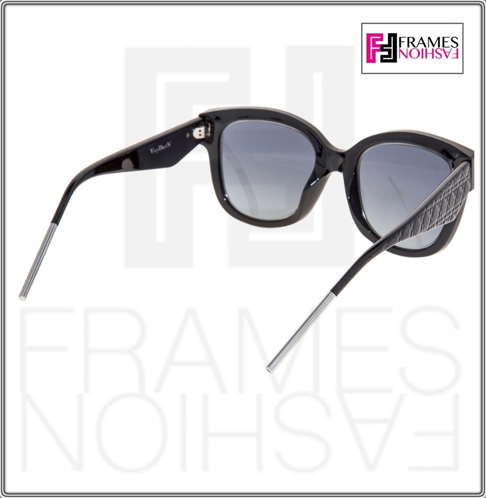 CHRISTIAN DIOR VeryDior 1N Shiny Black SIlver Gradient Square Sunglasses Dior1N