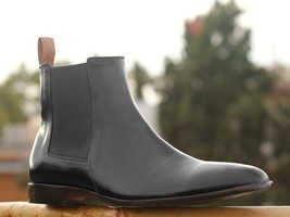 Handmade Men's Black Leather High Ankle Chelsea Boots image 2