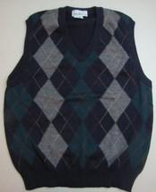 SAKS FIFTH AVENUE Sweater Vest Size Large Navy Blue Gray WOOL Argyle V-neck - $24.74