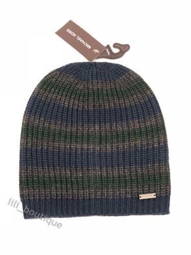 Primary image for NWT Michael Kors Mens Knit Acrylic Beanie Hat Ski Cap Striped Navy Green Grey 42