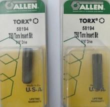 "Allen 58194 T50 Torx Insert Bit 5/16"" Drive 2 Packs USA - $5.20"