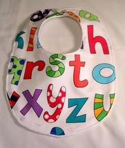 On Sale Minky DotBaby Bib Baby Shower Gift Lively Letters Print  - $4.99