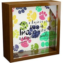 Dog Wall Decor | 6x6x2 Memorabilia Shadow Box | Wooden Keepsake with Gla... - $21.64