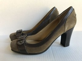 Nine West Womens Dashao Suede Heels Pumps sz 7.5M AA Olive Green Brown Pre-owned - $29.68
