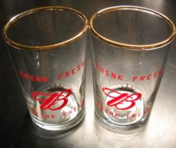 Budweiser Beer Tasting Glasses Set of Two Think Fresh Drink Fresh Red Pr... - $8.99
