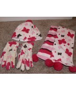 Sonoma Girls 3 Piece Set Pink Butterfly Scarf Hat & Gloves Size Small 4-... - £5.50 GBP
