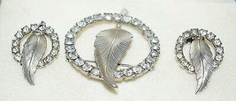 VTG Silver Tone Clear Rhinestone Leaf Earring Wreath Circle Brooch Pin Set - $39.60