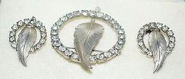 VTG Silver Tone Clear Rhinestone Leaf Earring Wreath Circle Brooch Pin Set - $39.60