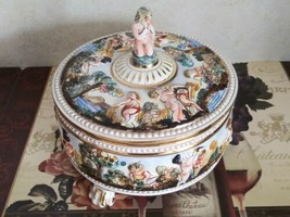 Capodimonte Porcelain Bernini Lidded Footed Hand Painted Bowl w/ Cherub - $182.90