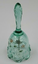 Vintage Fenton Art Hand Painted Bell Signed green - $9.90