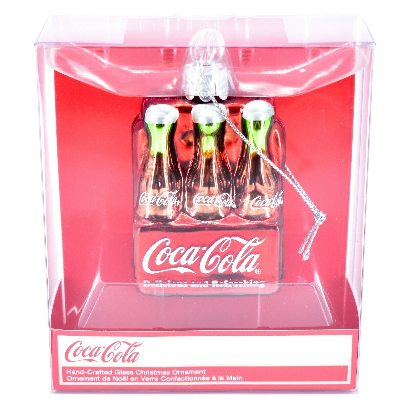 "Kurt S. Adler Coca-Cola Bottles 2.75"" Hand-Crafted Glass Christmas Ornament"