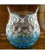 HQT OWL Glass Art Vase Figurine Handmade Home Design Teal Turquoise Blue... - $22.95
