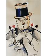 1978 Hand signed Lisa Lundsgaard Poker Card Dealer Watercolor Art Painting - $280.49