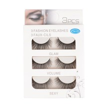 FESHFEN New 3D False Eyelashes, 3 Pairs Black Natural Long Cross Soft Th... - $24.56