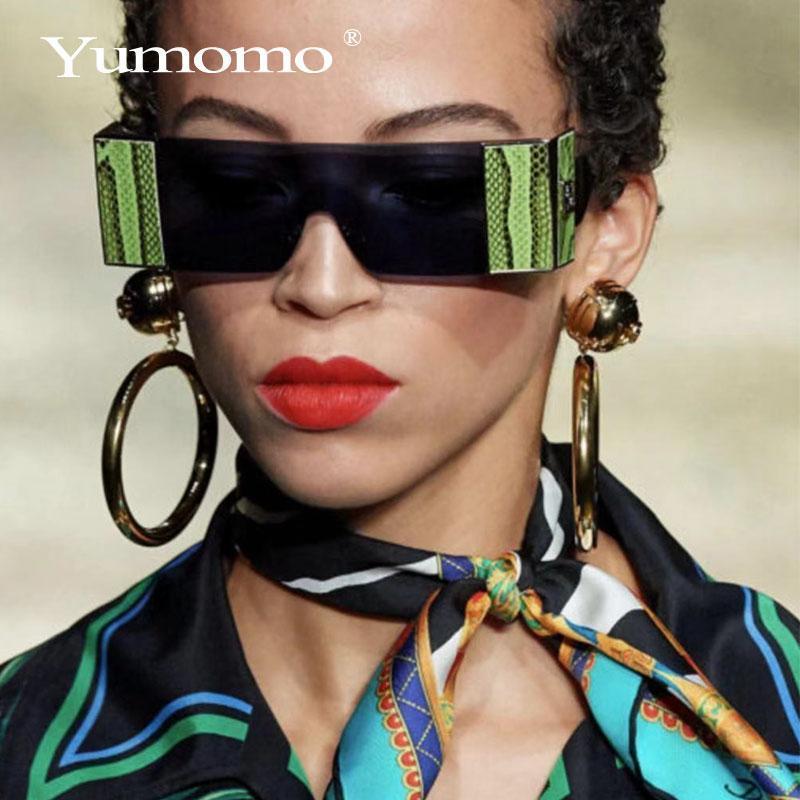 N oversized square rimless sunglasses women brand designer flat big sun glasses female one piece