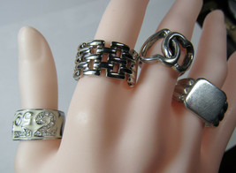 Heavy 4 PC Lot Sterling Silver Rings Clark and Coombs Baskin Brothers 32... - $56.42