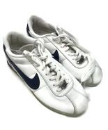 NIKE Women's White Cortez '72 Leather Blue Swoosh Shoes 020810 2404248 W... - $46.71