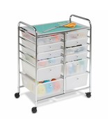 Rolling Storage Cart Organizer Art Craft Office Carrier w/ 12 Plastic Dr... - $110.00