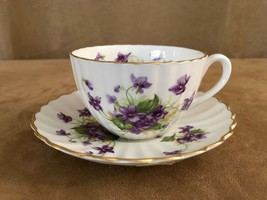 Radfords vintage china tea cup & saucer porcelain coffee purple floral v... - $32.50