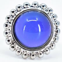 Beaded Edge Silver Tone Round Cabochon Color Changing Adjustable Mood Ring image 6