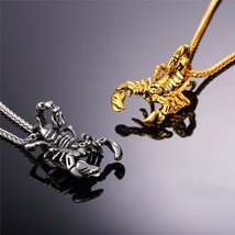 Gold Color Stainless Steel Vintage Scorpion Statement Necklace & Pendant  - $26.77