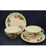2 Continental Kilns Green Arbor Pink Magnolia Cups & Saucers Hand Painted - $14.95