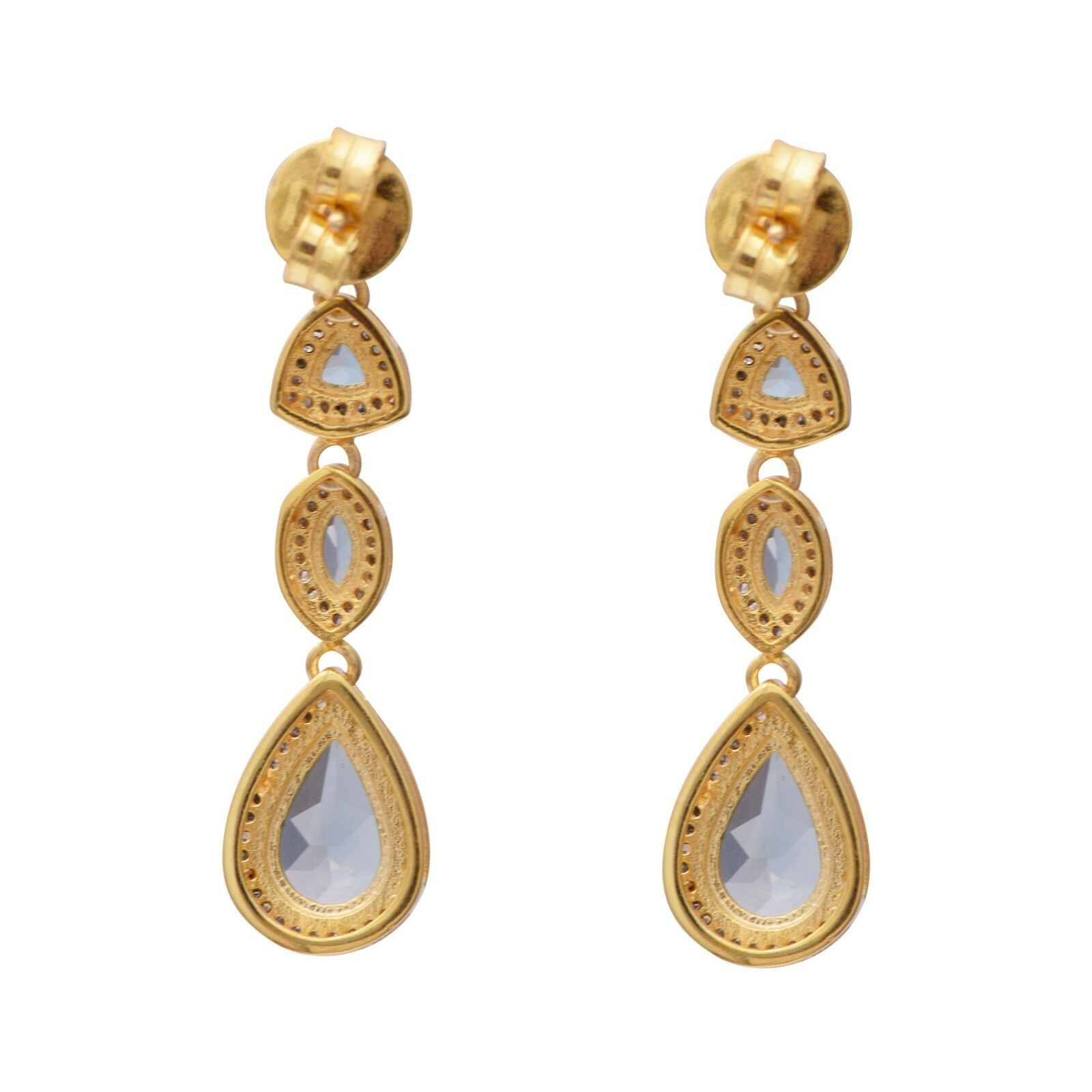 925 Sterling Silver Champagne Diamond &London Blue Topaz Long Drop/DangleEarring